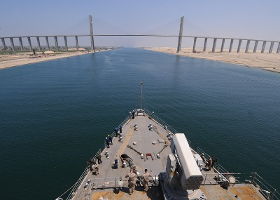 100718-N-1082Z-032 SUEZ CANAL (July 18, 2010) The amphibious dock landing ship USS Ashland (LSD 48) prepares to pass under the Egyptian-Japanese Friendship Bridge as it transits the Suez Canal. Ashland is part of the Nassau Amphibious Ready Group supporting maritime security operations and theater security cooperation operations in the U.S. 5th and 6th Fleet areas of responsibility. (U.S. Navy photo by Mass Communication Specialist 2nd Class Jason R. Zalasky/Released)